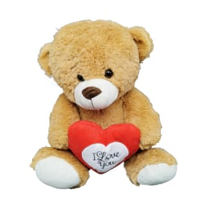 Teddy L Brown With Heart 30cm