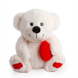 Pookey Bear With Heart White 25cm