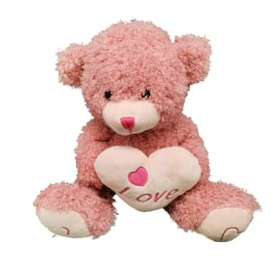 Teddy Pink With Heart 28cm