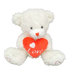 Teddy White With Heart 30cm