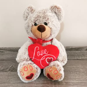 Teddy Beige With Heart 26cm